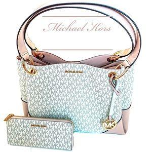 Michael Kors 'Nicole' Blossom large bag + wallet